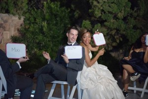 Derek and Moo (and wedding party) enjoy our take on the Newlywed Game
